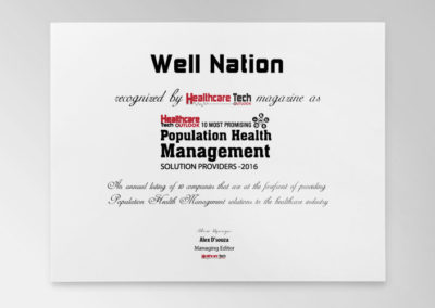 Well Nation Recognized Among 10 Most Promising Population Health Management Solution Providers 2016 by HealthCare Tech Outlook